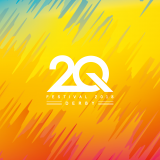 2Q logo on bright varied colour background